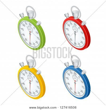 Stopwatch.  Set of  timers.  Time to work. Time is running out. Clock, Stopwatch soaring up. Vector 3d isometric illustration