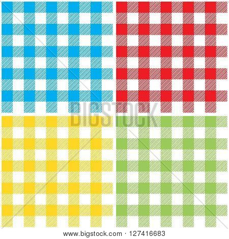 Set checkered colors tablecloth seamless pattern. Vector illustration of traditional gingham dining cloth with fabric texture. Checkered picnic cooking tablecloth different colors.