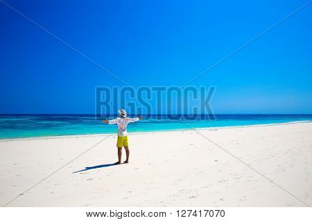Portrait Of A Happy Carefree Man Smiling With Arms Open Outdoors Portrait, Human Enjoying Life On Tr