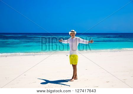 Happy Free Business Man On Summer Vacation Raising Hands Or Open Arms Enjoying Life On Tropical Free