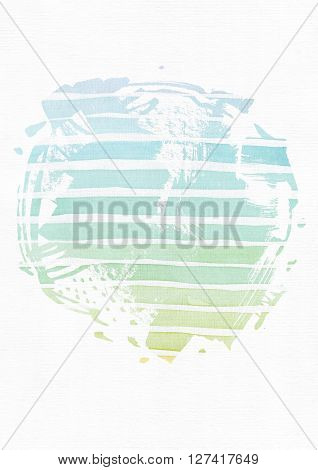 Simple vertical template with handdrawn ink circle hand made in freehand style with stripe gradient texture imperfect grainy bright on white watercolor paper illustration for your presentation or design.