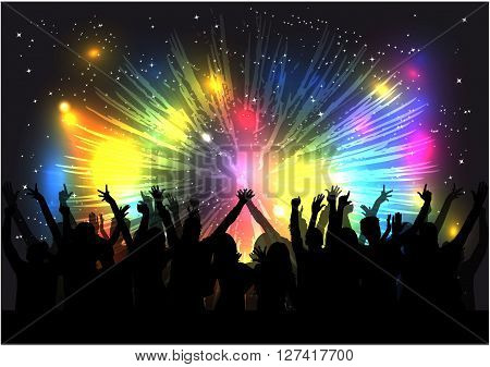 Dancing people silhouettes. Vector work .Colorful background.