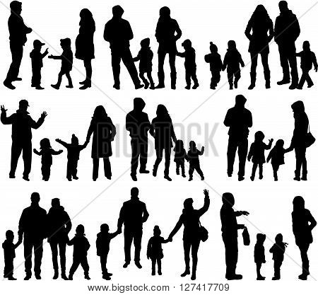 Family silhouettes - large group. Vector illustration.