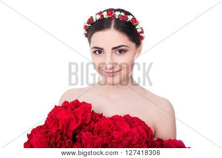 Skin Care Concept - Young Beautiful Woman With Red Flowers Isolated On White