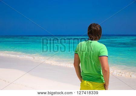 Back View Of Happy Man Enjoying Good Life On Exotic Beach, Guy Looking On Seaside, Tropical Island B