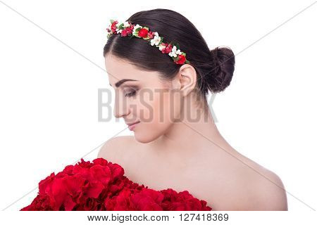 Skin Care Concept - Side View Of Young Beautiful Woman With Red Flowers Isolated On White