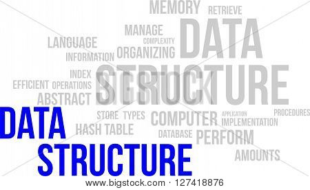 A word cloud of data structure related items