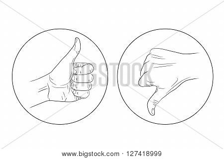 thumb up thumb down contour icon vector illustration