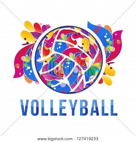 Vector volleyball logo design. - stock vector illusration