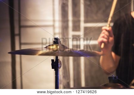 Blurred Photo, Drummer Plays On Cymbal