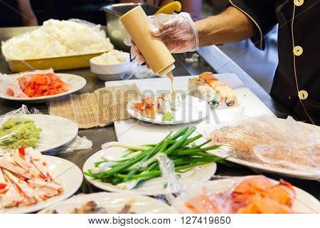 Preparing Of Sushi Rolls With Salmon