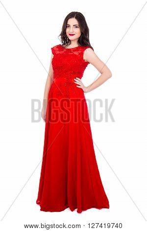 Full Length Portrait Of Young Beautiful Woman In Red Dress Isolated On White