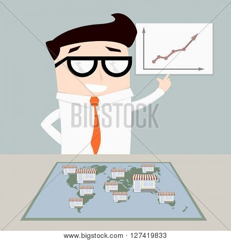minimalist illustration of a businessman with world map with stores on top, symbol for a franchise system, eps10 vector
