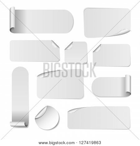 Blank white paper stickers isolated on white background. Round square and rectangular sticker template. Sale and Clearance stickers and banners. Big Sale promotion. Blank white Sticker Templates