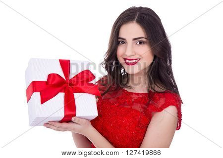 Portrait Of Cheerful Woman In Red Dress With Gift Box Isolated On White