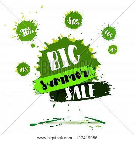 Summer Sale badge Summer sale label Summer sale banner. Vector watercolor banner with ink splashes. SALE Summer poster. Vector illustration. Special offer. Big Summer sale banner. Big Discount