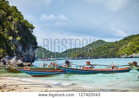 boats tethered near the shore of tropical beach, Thailand