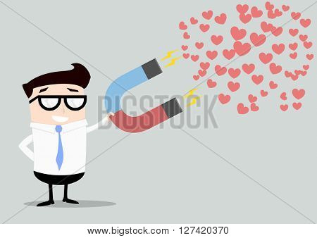 minimalistic illustration of a businessman holding a red and blue horseshoe magnet attracting hearts, eps10 vector