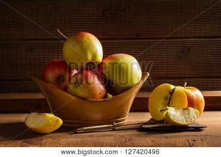 Ripe red bio apples on table
