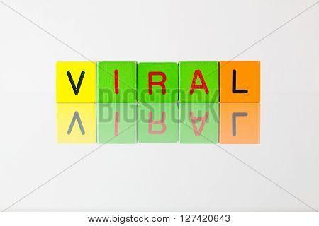 Viral - an inscription from children's wooden blocks