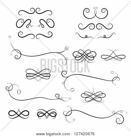 Calligraphic design elements on white background. Vector Calligraphic flourishes and Swashes. Curled Calligraphic flourish Swash and loops for decoration. Calligraphic design element