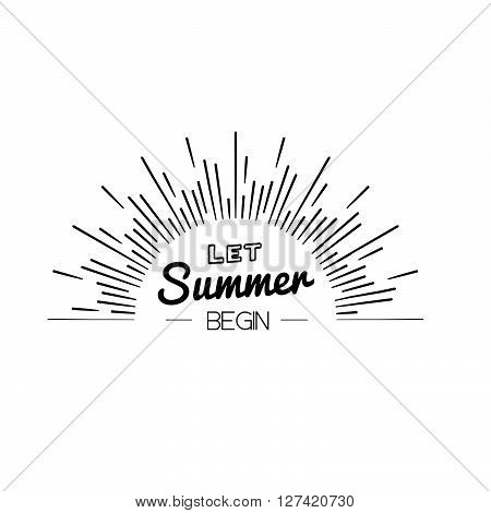 Summer Time Logo Template. Isolated Typographic Design Label. Hello Summer Holidays Lettering For In