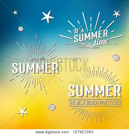 Summer Time Logo Templates. Isolated Typographic Design Label. Summer Holidays Lettering For Invitat