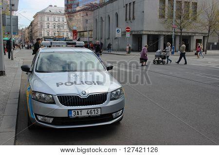 Prague Czech Republic - April 22 2016: Skoda Octavia Police Car Parked on the Street in Prague Nobody in vehicles