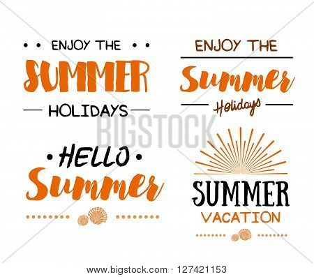 Set Of Summer Time Logo Templates. Isolated Typographic Design Label. Summer Holidays Lettering For