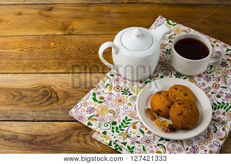 Tea cup and teapot top view copy space. Tea party. Breakfast tea. Cup of tea. Tea cup