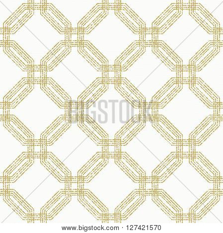 Geometric repeating vector ornament with golden octagonal dotted elements. Seamless abstract modern pattern