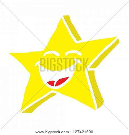 smiling star cartoon isolated on white