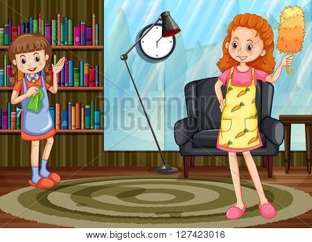 Mother and daughter cleaning at home