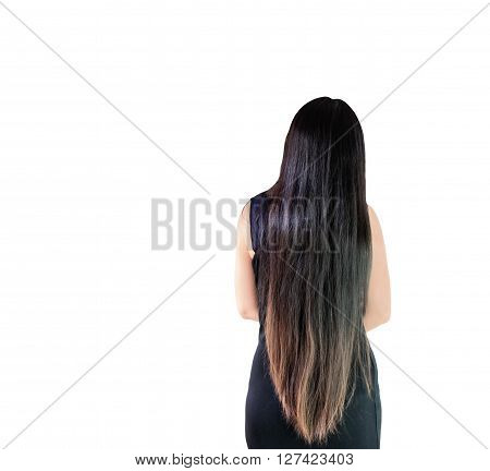 Isolated Back Side Or Rare View Of Black And Coloured Dry Long Hair Women
