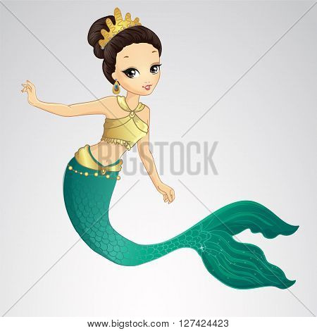 Vector illustration of brunette hair mermaid with gold crown