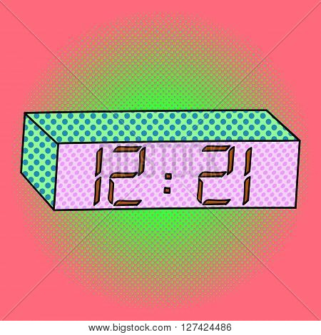 Digital watch pop art design vector illustration. Clock separate objects. Timer hand drawn doodle design elements.
