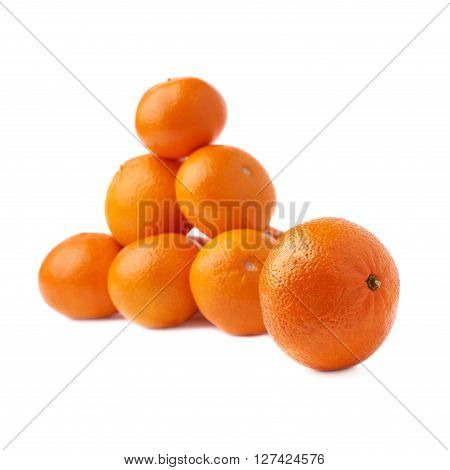 Pile of multiple ripe fresh juicy tangerines, composition isolated over the white background