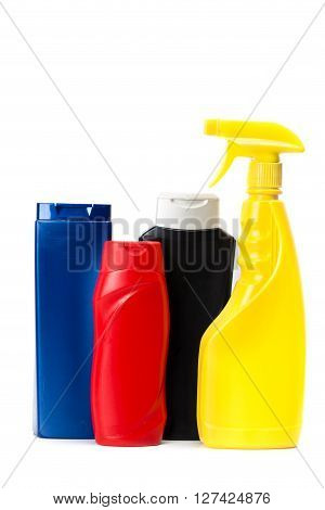 Plastic packaging for household chemicals. isolated on white