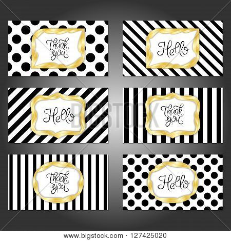 Collection of 6 vintage card templates in gold black and white colors. For the wedding marriage save the date cards invitations greetings. Simple retro design with a gold frame.