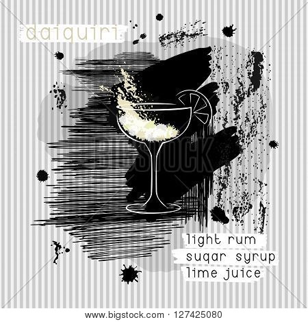 Daiquiri cocktail in grunge style. Abstract design concept for promotional flyer invitation banner or cocktails menu. Vector eps10