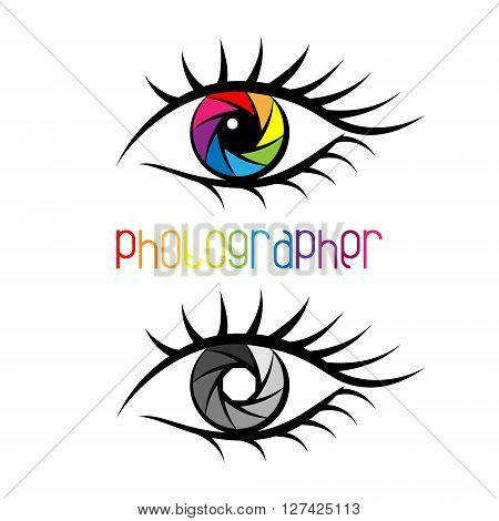 Camera shutter in eye design Concept. Logo template for photography studio photographer photo company web site. Colorful or black and white diaphragm.