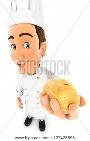 3d head chef holding a potato isolated white background