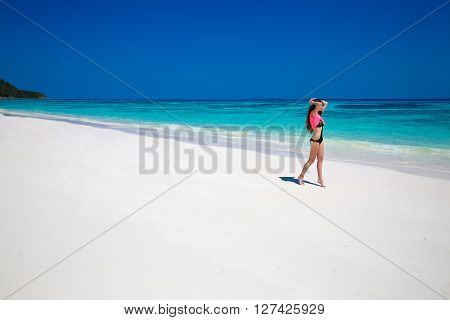 Enjoying Life. Healthy Woman Walking On Exotic Sea. Fit Brunette Girl, Blue Sky On Tropical Beach. O