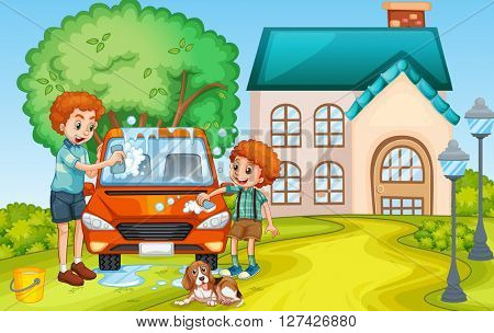 Dad and son washing car at home illustration