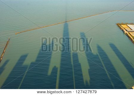 Silhouettes of skyscrapers in Chicago, United States of America