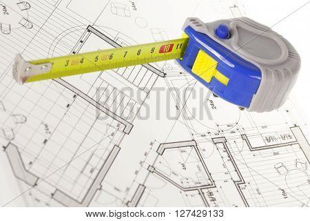 architectural blueprint - house plan & tape measure
