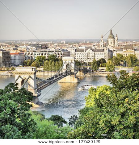 View of Budapest with Chain bridge, Hungary