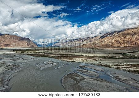 Nubra valley and Nubra river in Himalayas. Ladakh, Jammu and Kashmir, India