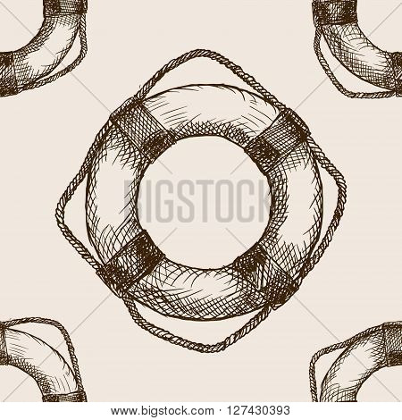 Lifebuoy sketch style seamless pattern vector illustration. Old engraving imitation.