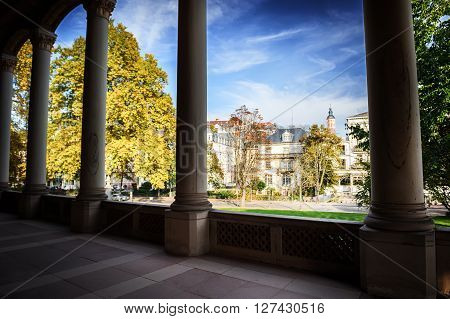 Baden Baden cityscape with ancient architecture at sunny fall day